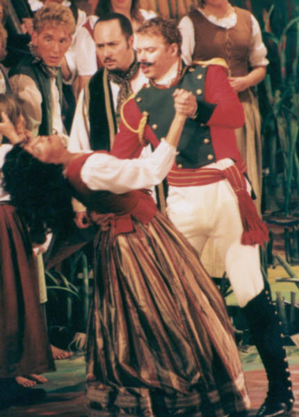 Nemorino , Belcore and Adina in L'Elisir d'Amore